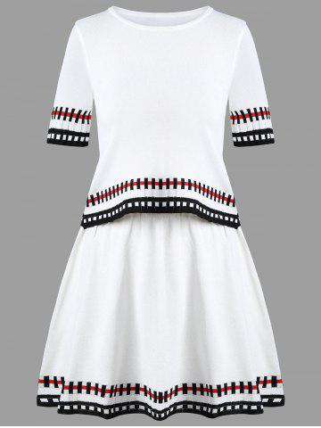 Two Piece Striped Graphic Knit Dress - White - One Size