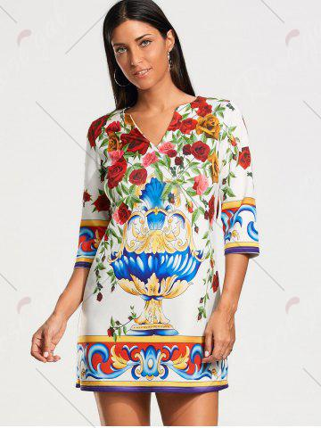 Chic Roses Print Three Quarter Sleeve Tunic Dress - S COLORMIX Mobile