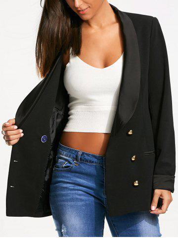 Fashion Back Slit Double Breasted Lapel Blazer BLACK S