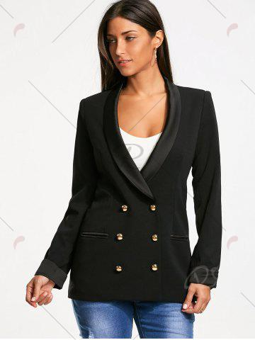 Latest Back Slit Double Breasted Lapel Blazer - S BLACK Mobile
