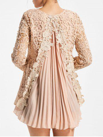 Buy High Low Pleated Lace Blouse - XL PINK Mobile
