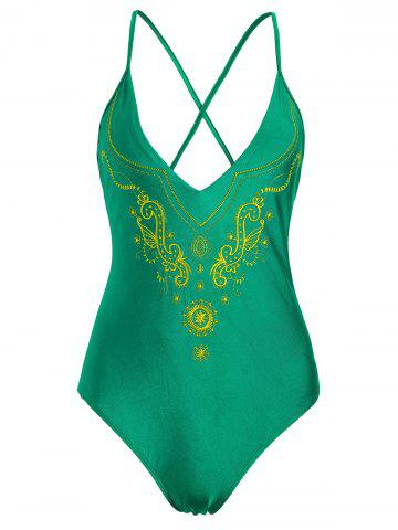 Fancy Plus Size Cross Back Embroidered Swimsuit - XL GREEN Mobile