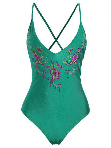 Discount Embroidered Crossback Plus Size Swimsuit GREEN 2XL
