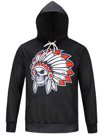 Discount Pocket Skull Chief Print Hoodie - M BLACK Mobile