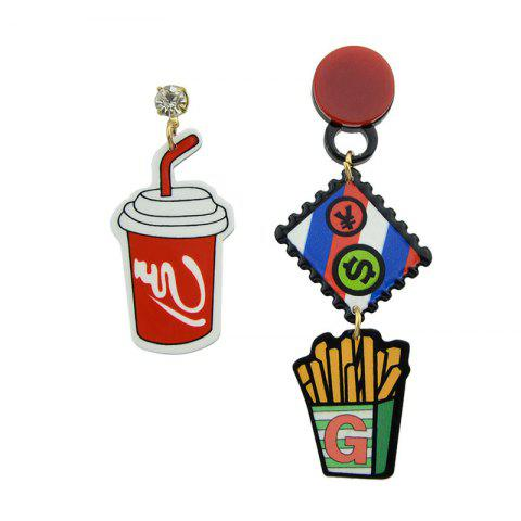 Sale Funny Rhinestone Chips Drink Dollar Earrings - RED  Mobile