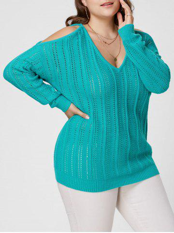 Latest Plus Size Cold Shoulder Open Knit Sweater