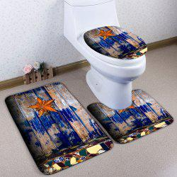 3Pcs/Set Starfish Wood Plank Printed Bath Toilet Mat - WOOD COLOR