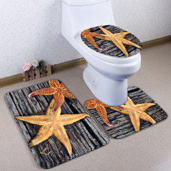 3Pcs Wood Plank Starfish Print Bath Toilet Mat Set - GRAY