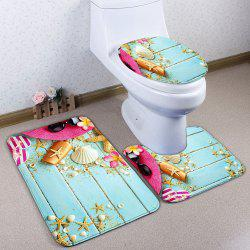 Starfish Wood Plank Print 3Pcs Ensemble de tapis de toilette - Bleu Clair