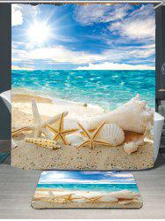 Conch Shells Beach Waterproof Shower Curtain Rug Set - BLUE