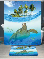 Sea Turtle Waterproof Shower Curtain Carpet Set - BLUE