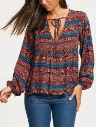Plunging Neckline Bohemia Print Long Sleeve Blouse - RED