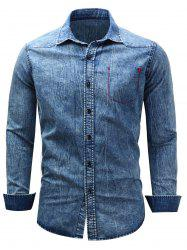 Long Sleeve Bleached Pocket Chambray Shirt