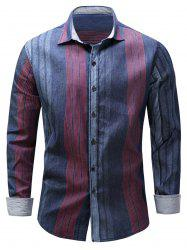 Color Block Panel Stripe Chambray Shirt - BLUE AND RED M
