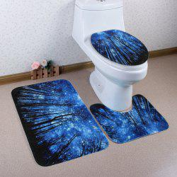 Forest Galaxy Pattern 3 Pcs Bath Mat Toilet Mat - BLUE