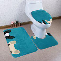 Cartoon Dog Pattern 3 Pcs Bath Mat Toilet Mat - LAKE BLUE