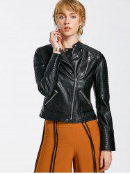Zippered Embossed PU Leather Striped Jacket -