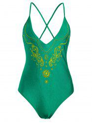 Plus Size Cross Back Embroidered Swimsuit - GREEN 2XL