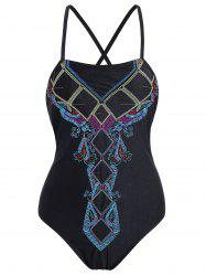 Lace Up Embroidered Plus Size Swimsuit - BLACK 3XL