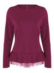 Flounce Mesh Panel Long Sleeve Top - RED XL