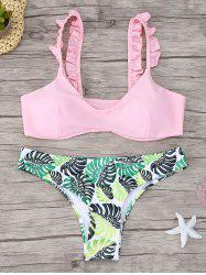 Frill Trim Printed Scoop Neck Bikini Set - PINK S
