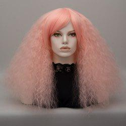 Long Side Bang Fluffy Curly Wave Lolita Cosplay Wig - PINK