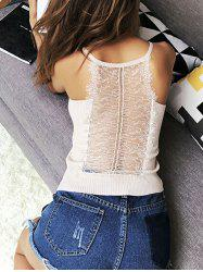 Ribbed Lace Insert Hollow Out Cami Top