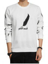 Sweat brodé graphique plume - Blanc 4XL