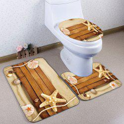 3Pcs/Set Bathroom Decor Plank Bath Toilet Mats - SAND YELLOW