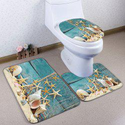 Plank Starfish Printed 3Pcs/Set Flannel Bath Rugs - TURQUOISE