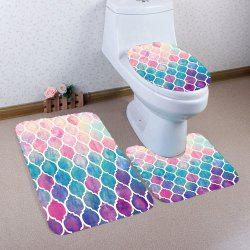 Bohemia Colorful Geometric Pattern 3Pcs Toliet Bathroom Mats - COLORFUL