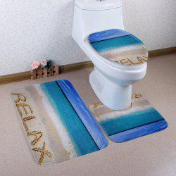 Beach Relax Pattern 3 Pcs Bath Mat Toilet Mat - COLORMIX