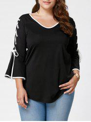 Plus Size Lace Up Bell Sleeve Top - BLACK