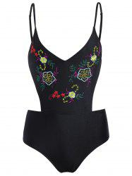 High Waisted Embroidered Plus Size Swimsuit