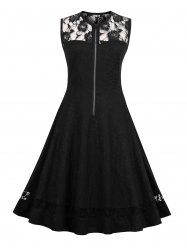 Lace Insert High Waist Sleeveless 50s Dress
