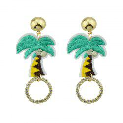 Rhinestone Embroidery Coconut Palm Circle Earrings - GREEN