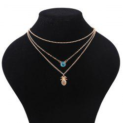 Alloy Faux Crystal Pineapple Layered Necklace