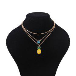 Faux Crystal Pineapple Layered Pendant Necklace