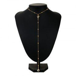 Faux Crystal Alloy Round Long Necklace - GOLDEN