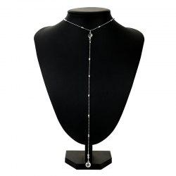 Faux Crystal Alloy Round Long Necklace - SILVER