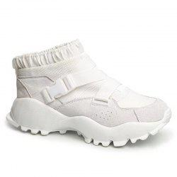 Color Block Buckle Straps Mesh neakers - WHITE 38