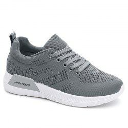 Hollow Out Breathable Mesh Sneakers - GRAY