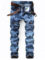 Zip Pocket Tie Dyed Biker Jeans - BLUE