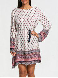 Bohemia Print Long Sleeve Tunic Dress - WHITE