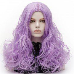 Long Middle Part Fluffy Layered Wavy Lolita Cosplay Wig - LIGHT PURPLE