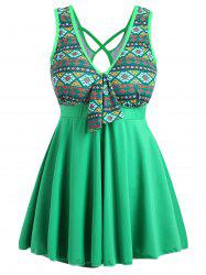 Plus Size Cross Back Skirted One Piece Swimsuit - GREEN