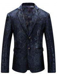 Single Breasted Abstract Printed Blazer - PURPLISH BLUE 56