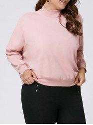 Plus Size Mock Neck Drop Shoulder Sweatshirt