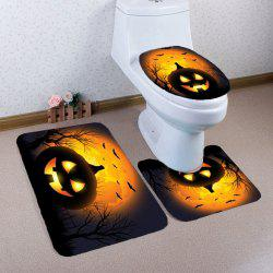 Halloween Pumpkin Withered Tree Printed 3Pcs Toilet Bathroom Mats - BLACK AND ORANGE