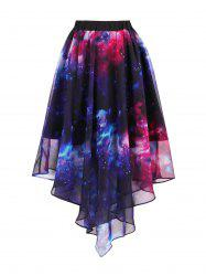 Starry Sky Print Chiffon Handkerchief Skirt - BLUE